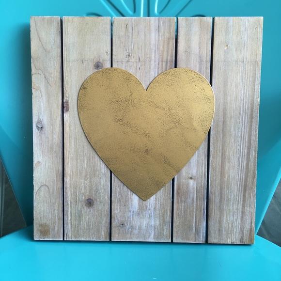 Gold Barn Wood Heart Wall Hanging
